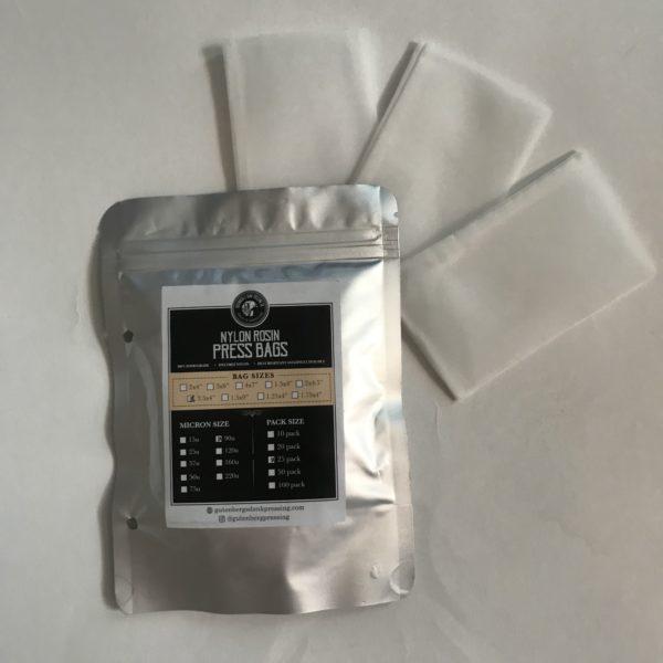 2.5x4 inch rosin press bags 90 micron 25 pack