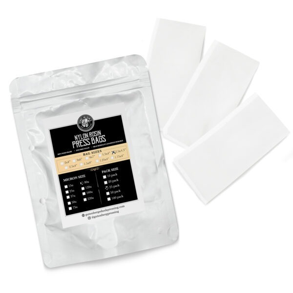 2.5x4.5 inch rosin press bags 90u 25 pack