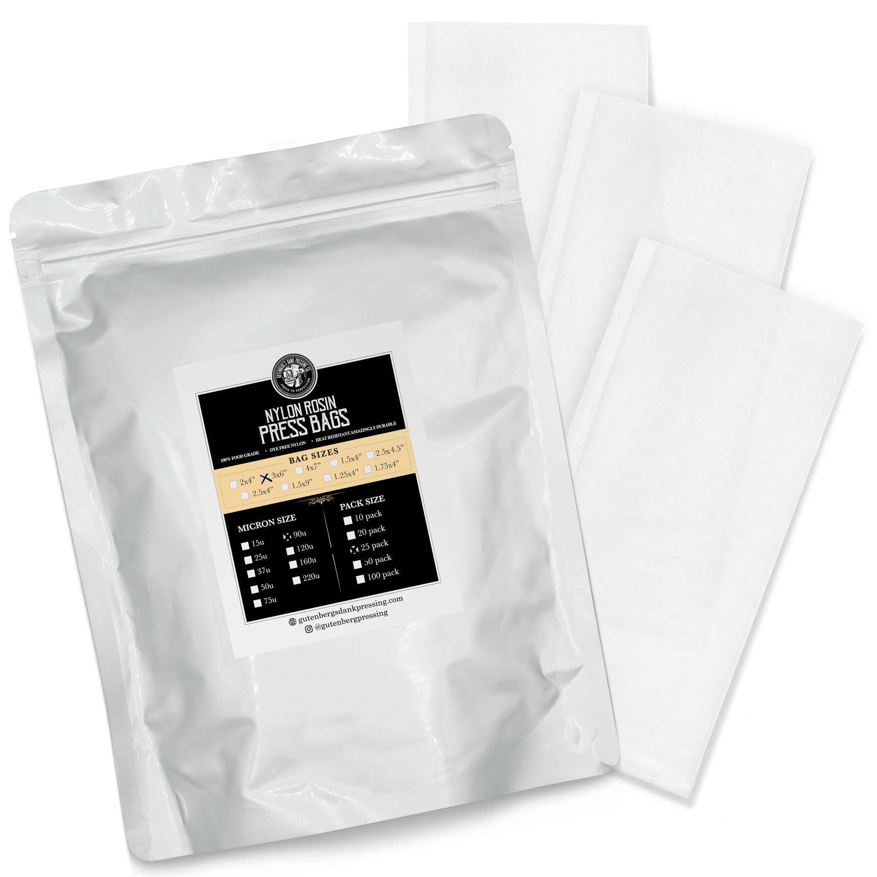 3x6 inch rosin press bags 90u 25 pack